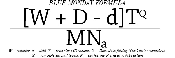 Image result for blue monday equation
